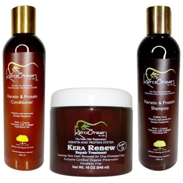 KeraGreen Bundle: Essential Treatment Kit with Keratin Shampoo, Conditioner and Kera Renew mask